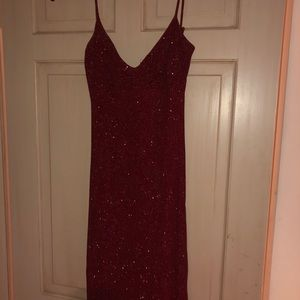 Red glitter low back dress